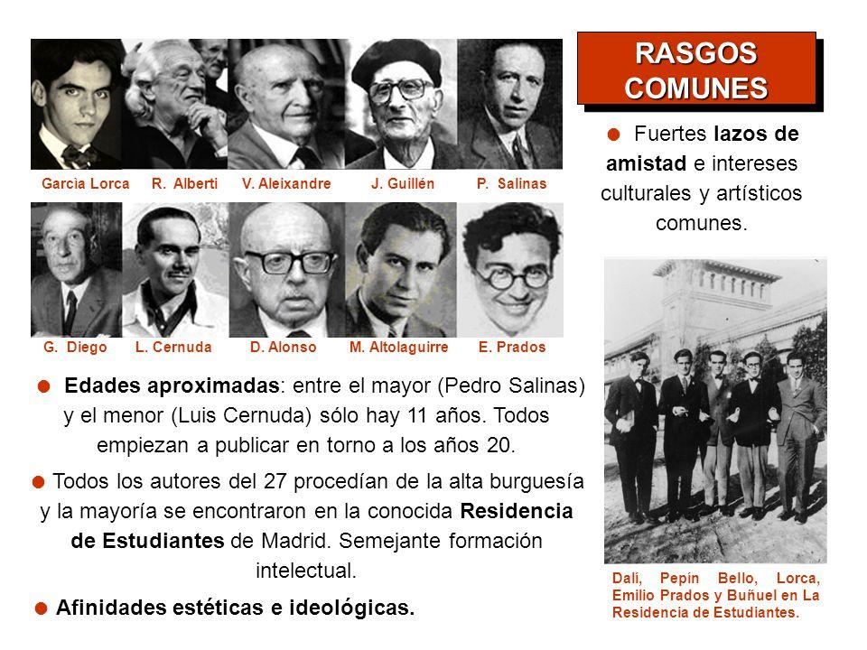 Todos los autores del 27 procedían de la alta burguesía y la mayoría se encontraron en la conocida Residencia de Estudiantes de Madrid. Semejante form