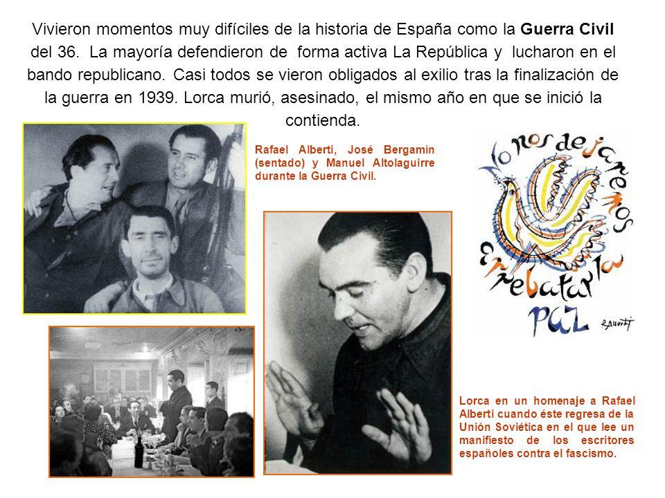 Jorge Guillén, Juan Ramón Jiménez y Pedro Salinas Vicente Aleixandre Sombra del paraíso (1945) Dámaso Alonso Hijos de la ira (1944) Después de la guerra: Lorca muere en 1936.