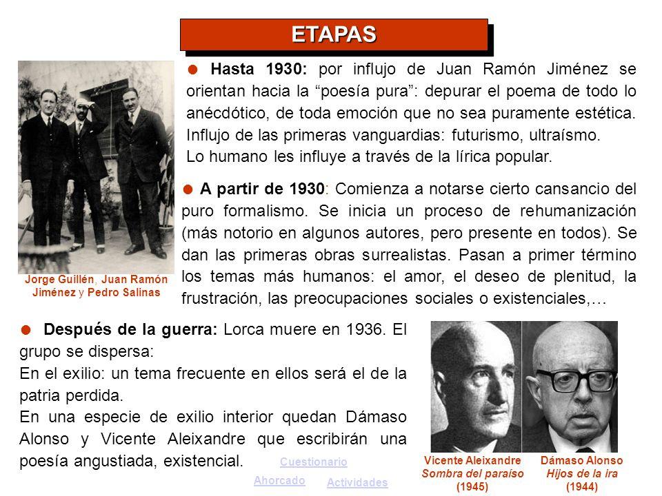 Jorge Guillén, Juan Ramón Jiménez y Pedro Salinas Vicente Aleixandre Sombra del paraíso (1945) Dámaso Alonso Hijos de la ira (1944) Después de la guer