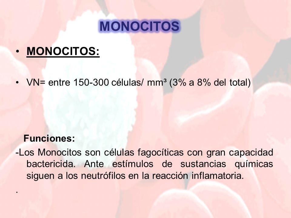 MONOCITOS: VN= entre 150-300 células/ mm³ (3% a 8% del total) Funciones: -Los Monocitos son células fagocíticas con gran capacidad bactericida. Ante e