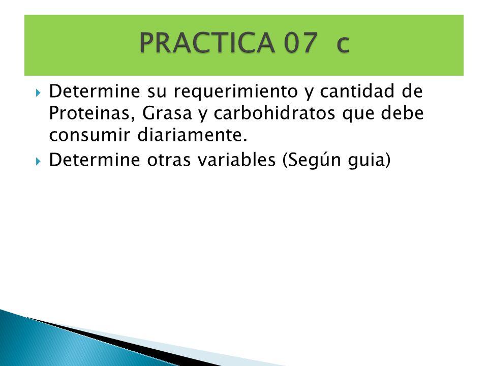 Determine su requerimiento y cantidad de Proteinas, Grasa y carbohidratos que debe consumir diariamente.