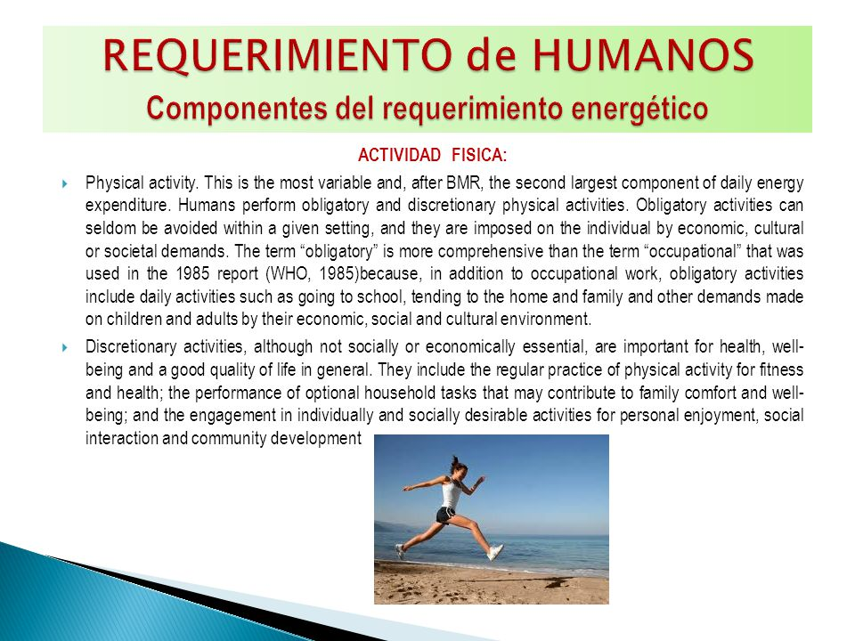 ACTIVIDAD FISICA: Physical activity. This is the most variable and, after BMR, the second largest component of daily energy expenditure. Humans perfor