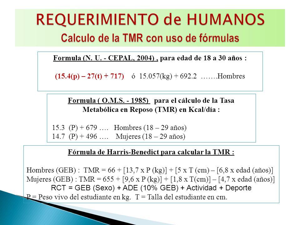 Formula (N. U. - CEPAL, 2004), para edad de 18 a 30 años : (15.4(p) – 27(t) + 717) ó 15.057(kg) + 692.2 …….Hombres Formula ( O.M.S. - 1985) para el cá