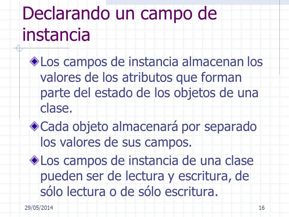 Declarando un campo de instancia Los campos de instancia almacenan los valores de los atributos que forman parte del estado de los objetos de una clase.