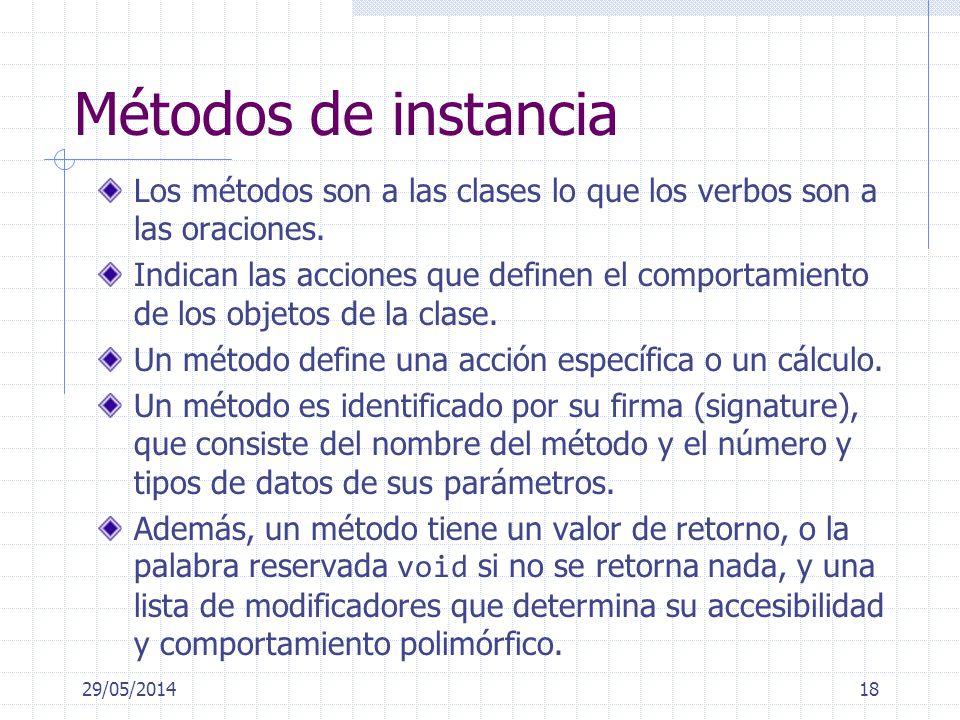 Métodos de instancia Los métodos son a las clases lo que los verbos son a las oraciones. Indican las acciones que definen el comportamiento de los obj