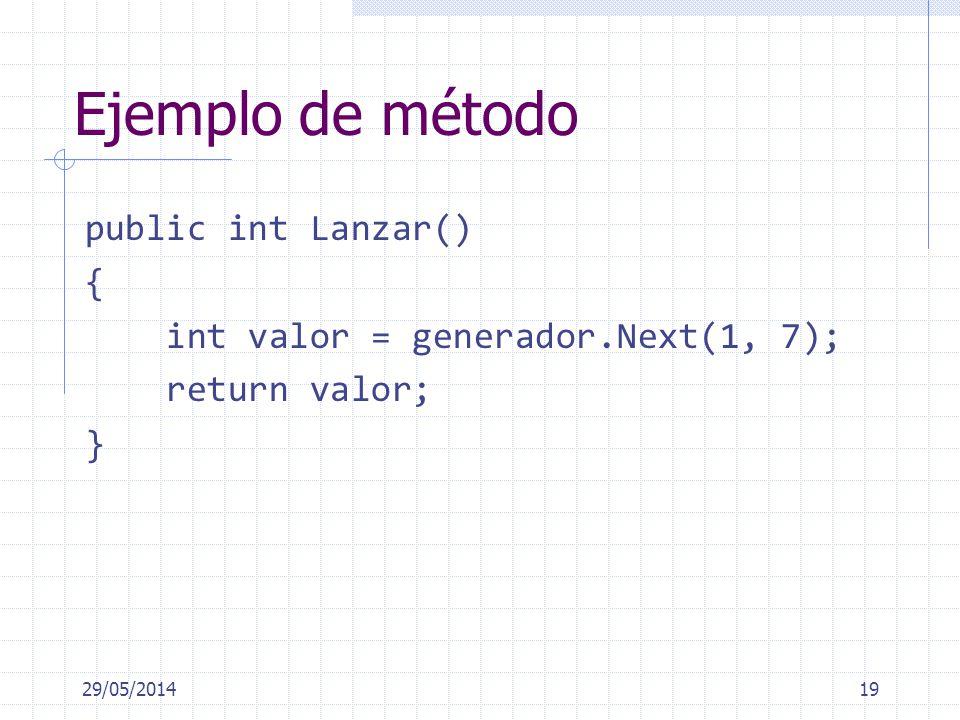 Ejemplo de método public int Lanzar() { int valor = generador.Next(1, 7); return valor; } 29/05/201419