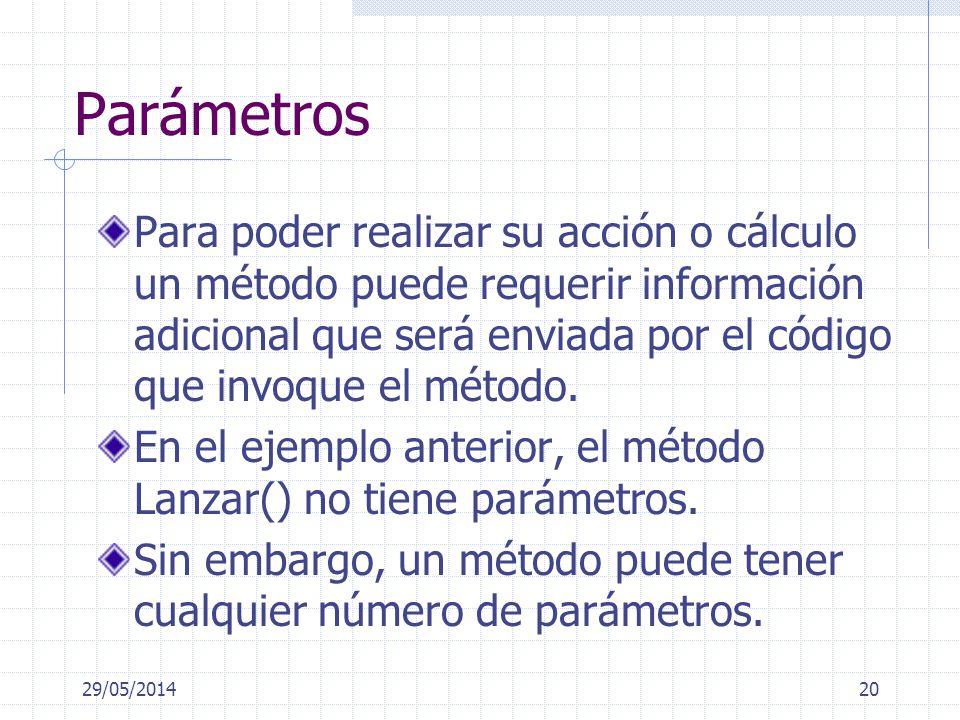 Parámetros Para poder realizar su acción o cálculo un método puede requerir información adicional que será enviada por el código que invoque el método.