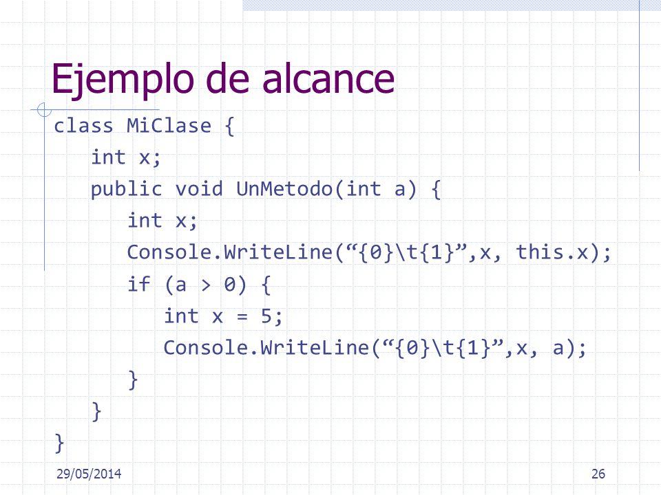 Ejemplo de alcance class MiClase { int x; public void UnMetodo(int a) { int x; Console.WriteLine({0}\t{1},x, this.x); if (a > 0) { int x = 5; Console.WriteLine({0}\t{1},x, a); } 29/05/201426