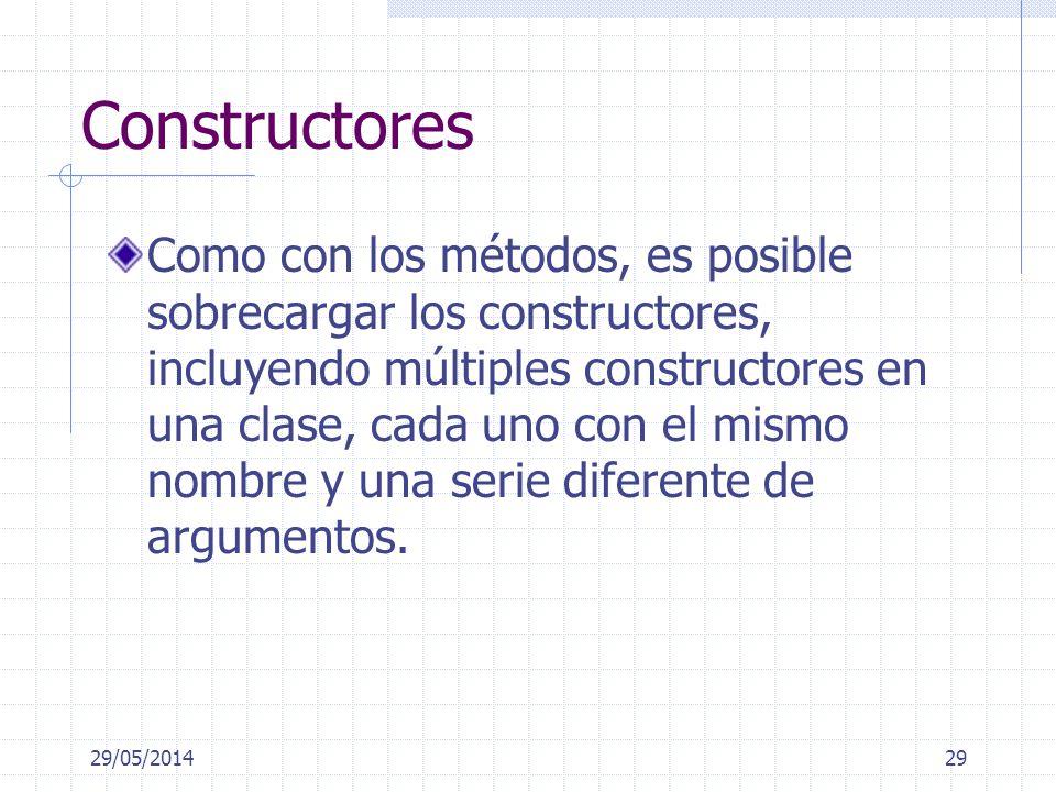 29/05/201429 Constructores Como con los métodos, es posible sobrecargar los constructores, incluyendo múltiples constructores en una clase, cada uno con el mismo nombre y una serie diferente de argumentos.