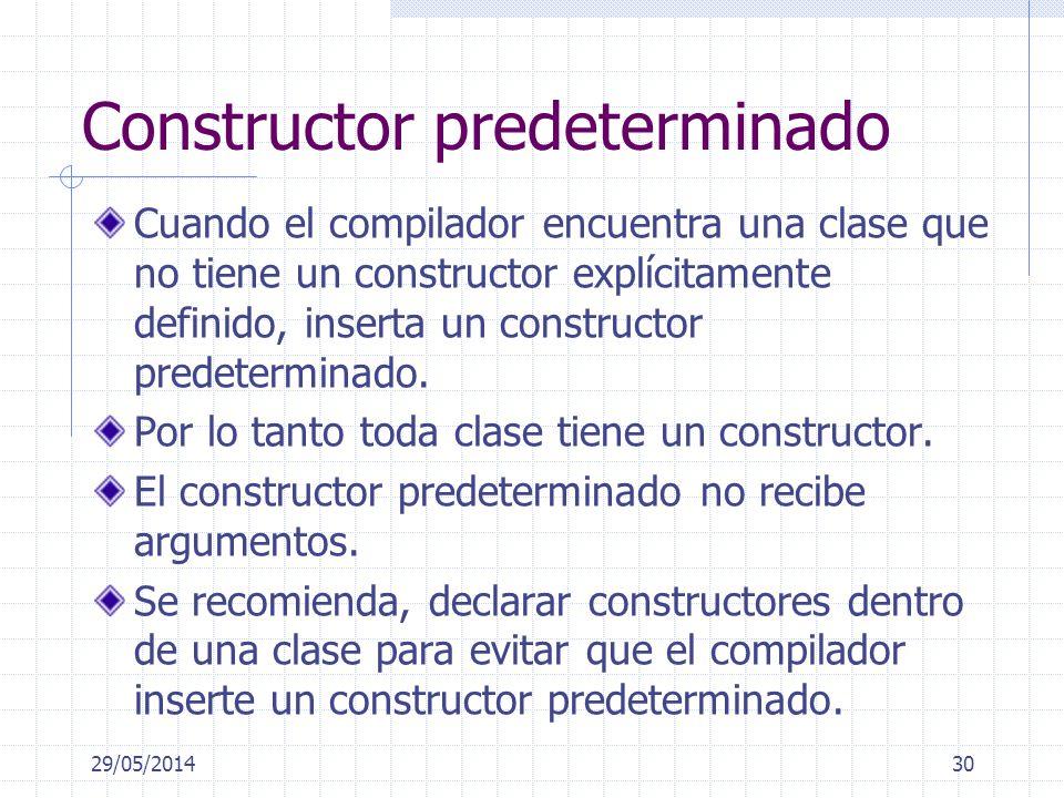 29/05/201430 Constructor predeterminado Cuando el compilador encuentra una clase que no tiene un constructor explícitamente definido, inserta un const