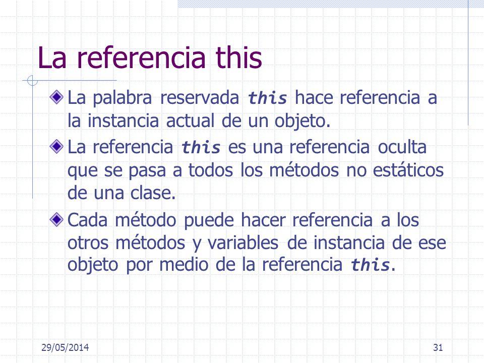 La referencia this La palabra reservada this hace referencia a la instancia actual de un objeto. La referencia this es una referencia oculta que se pa