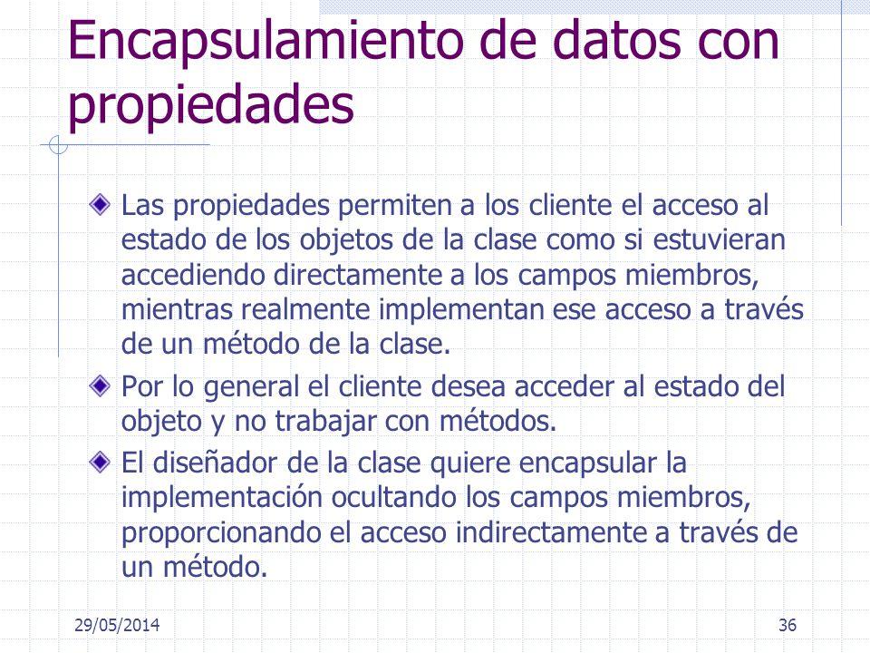 Encapsulamiento de datos con propiedades Las propiedades permiten a los cliente el acceso al estado de los objetos de la clase como si estuvieran acce