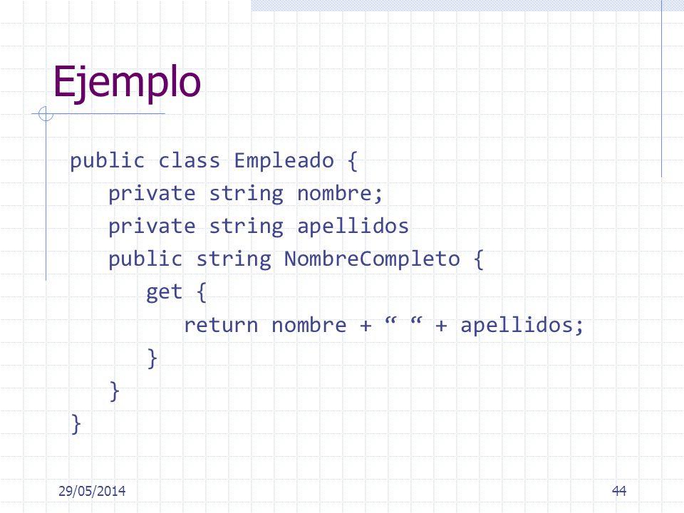 Ejemplo public class Empleado { private string nombre; private string apellidos public string NombreCompleto { get { return nombre + + apellidos; } 29/05/201444