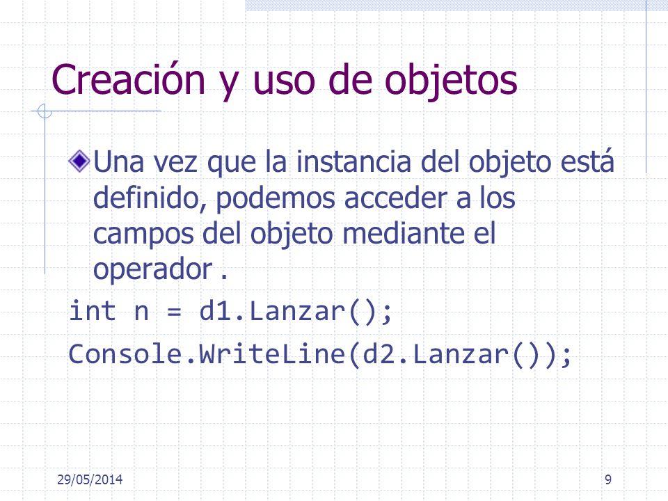 Creación y uso de objetos Una vez que la instancia del objeto está definido, podemos acceder a los campos del objeto mediante el operador. int n = d1.