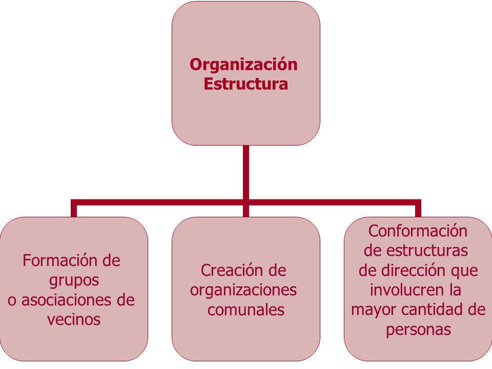 Organización Estructura Formación de grupos o asociaciones de vecinos Creación de organizaciones comunales Conformación de estructuras de dirección qu