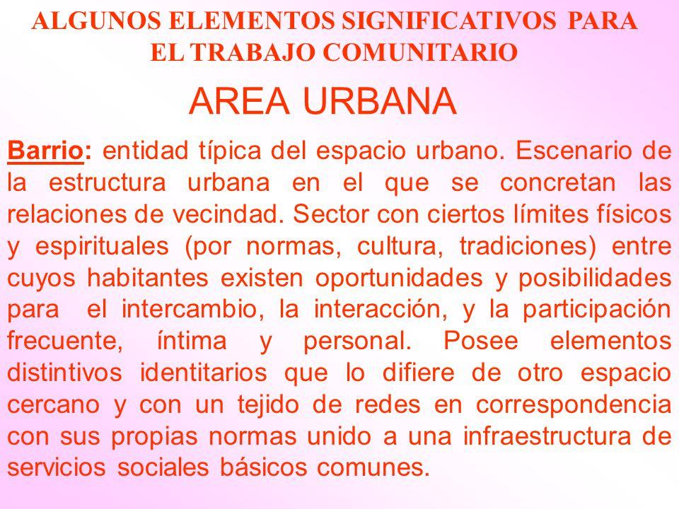 AREA URBANA Barrio: entidad típica del espacio urbano. Escenario de la estructura urbana en el que se concretan las relaciones de vecindad. Sector con