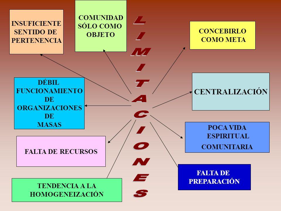 CONCEBIRLO COMO META COMUNIDAD SÓLO COMO OBJETO DÉBIL FUNCIONAMIENTO DE ORGANIZACIONES DE MASAS CENTRALIZACIÓN FALTA DE RECURSOS INSUFICIENTE SENTIDO