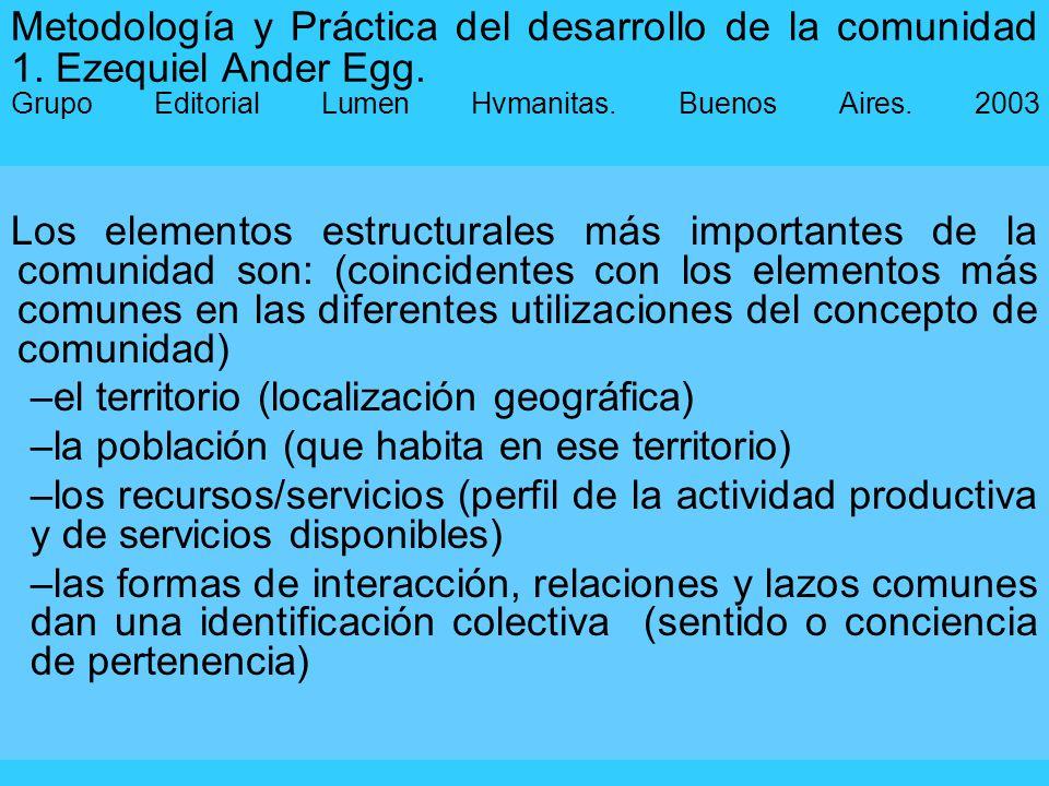 Metodología y Práctica del desarrollo de la comunidad 1. Ezequiel Ander Egg. Grupo Editorial Lumen Hvmanitas. Buenos Aires. 2003 Los elementos estruct