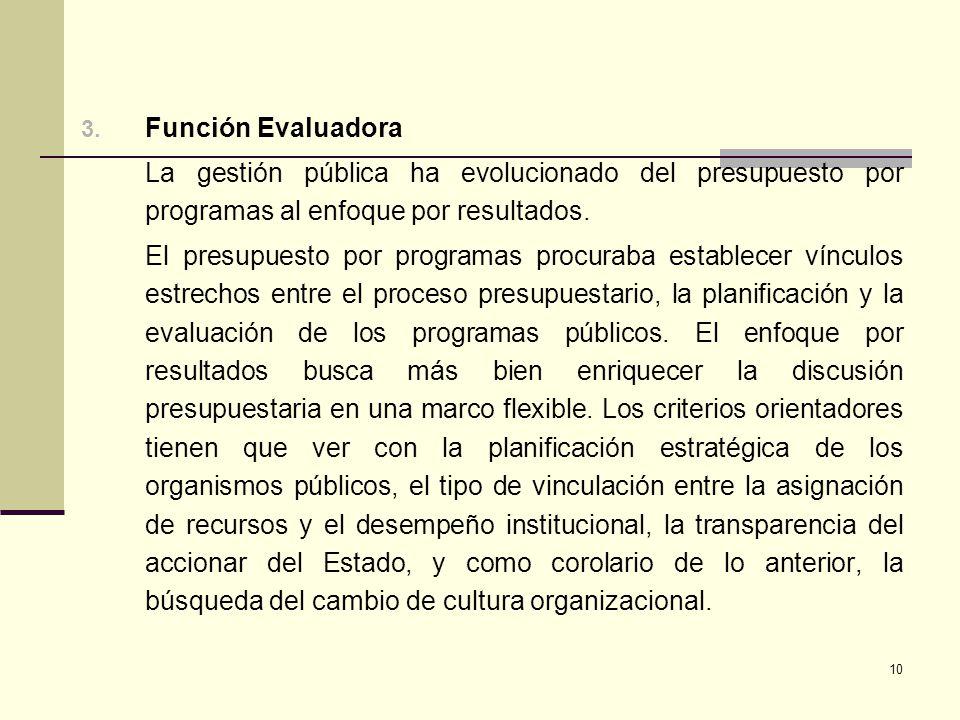 10 3. Función Evaluadora La gestión pública ha evolucionado del presupuesto por programas al enfoque por resultados. El presupuesto por programas proc