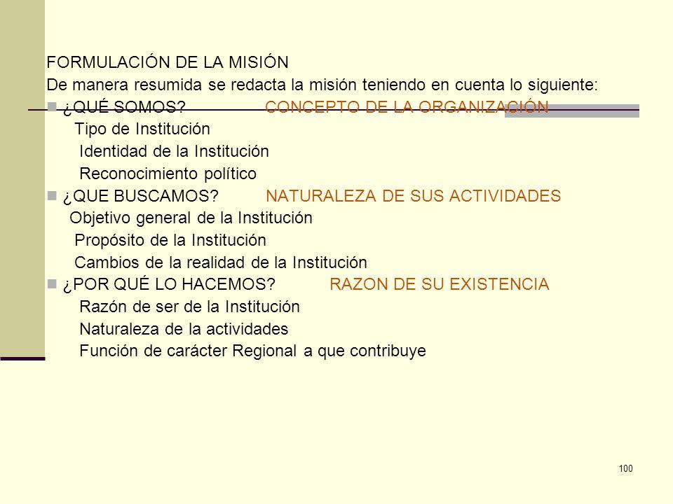 100 FORMULACIÓN DE LA MISIÓN De manera resumida se redacta la misión teniendo en cuenta lo siguiente: ¿QUÉ SOMOS? CONCEPTO DE LA ORGANIZACIÓN Tipo de