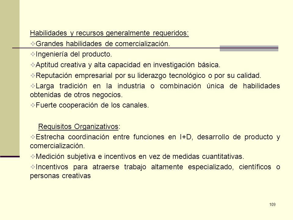 109 Habilidades y recursos generalmente requeridos: Grandes habilidades de comercialización. Ingeniería del producto. Aptitud creativa y alta capacida