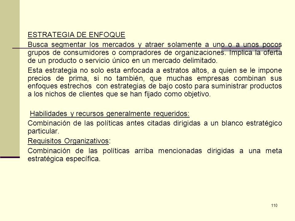 111 Precios Altos Precios Bajos Producto o Servicio común Producto o Servicio exclusivo ESTRATEGIA DE DIFERENCIACIÓN ESTRATEGIA DE LIDERAZGO EN COSTOS ESTRATEGIA DE ENFOQUE (NICHO)