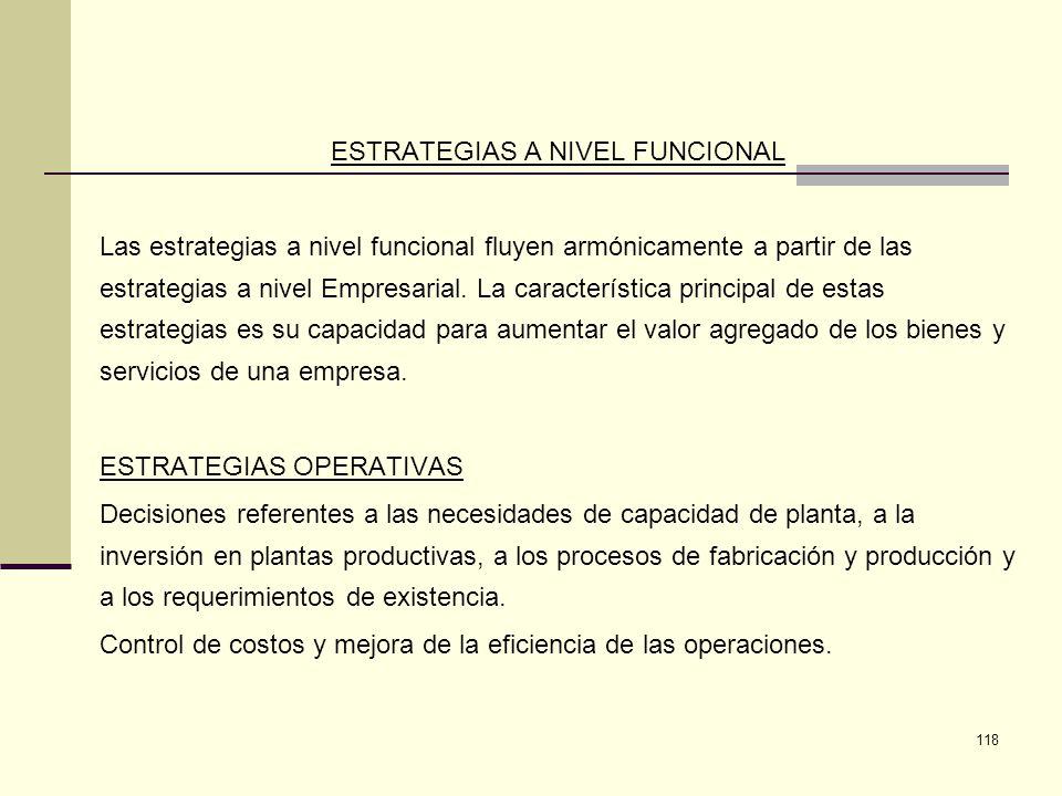 118 ESTRATEGIAS A NIVEL FUNCIONAL Las estrategias a nivel funcional fluyen armónicamente a partir de las estrategias a nivel Empresarial. La caracterí