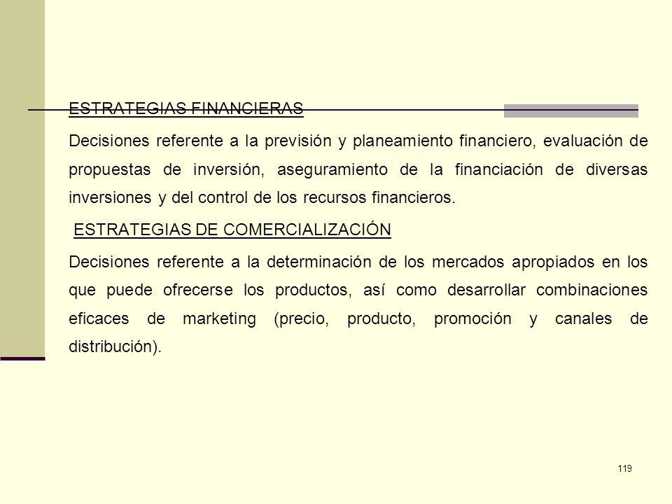 119 ESTRATEGIAS FINANCIERAS Decisiones referente a la previsión y planeamiento financiero, evaluación de propuestas de inversión, aseguramiento de la