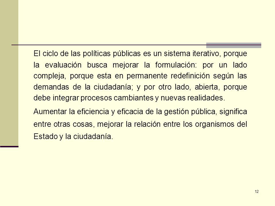 12 El ciclo de las políticas públicas es un sistema iterativo, porque la evaluación busca mejorar la formulación: por un lado compleja, porque esta en