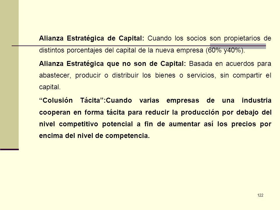 122 Alianza Estratégica de Capital: Cuando los socios son propietarios de distintos porcentajes del capital de la nueva empresa (60% y40%). Alianza Es