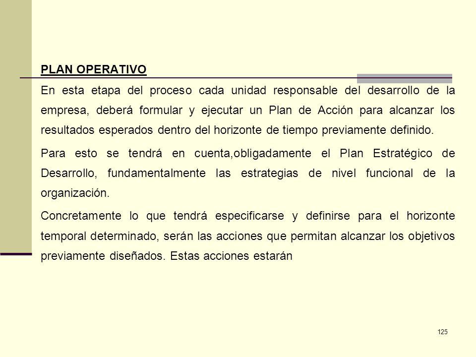 125 PLAN OPERATIVO En esta etapa del proceso cada unidad responsable del desarrollo de la empresa, deberá formular y ejecutar un Plan de Acción para a