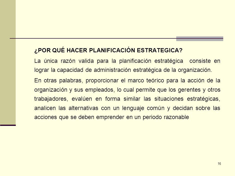 17 CONCEPTOS PRINCIPIOS Y PROCESO DE PLANEACIÓN ESTRATEGICA Todo emprendimiento de cierta envergadura necesita un Plan.