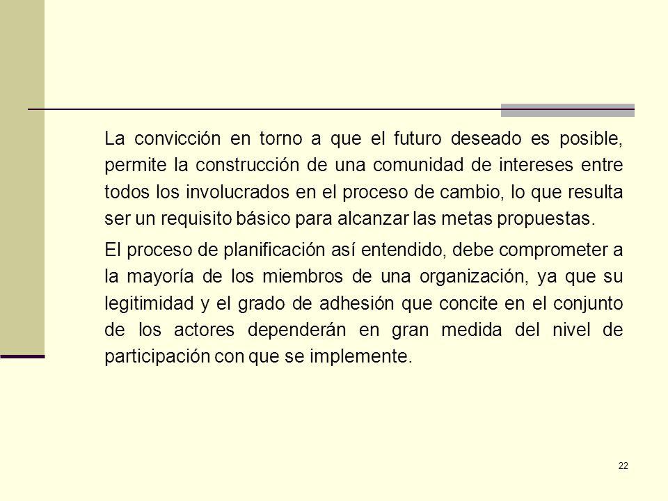 22 La convicción en torno a que el futuro deseado es posible, permite la construcción de una comunidad de intereses entre todos los involucrados en el