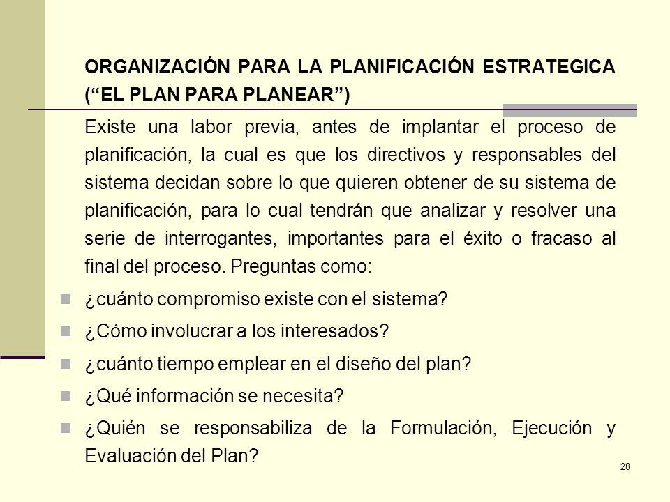 28 ORGANIZACIÓN PARA LA PLANIFICACIÓN ESTRATEGICA (EL PLAN PARA PLANEAR) Existe una labor previa, antes de implantar el proceso de planificación, la c