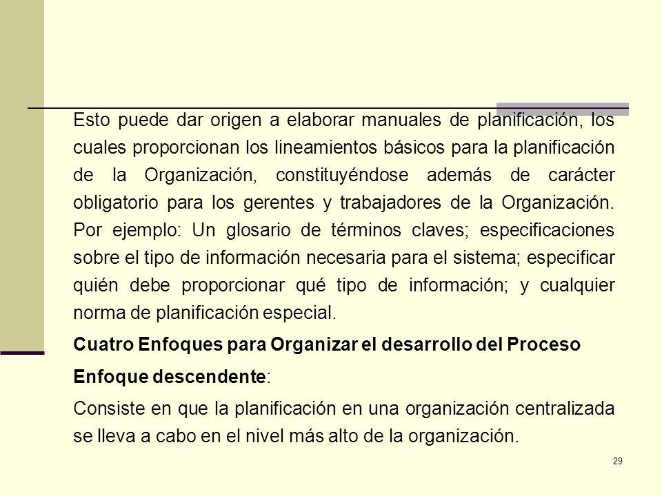 29 Esto puede dar origen a elaborar manuales de planificación, los cuales proporcionan los lineamientos básicos para la planificación de la Organizaci