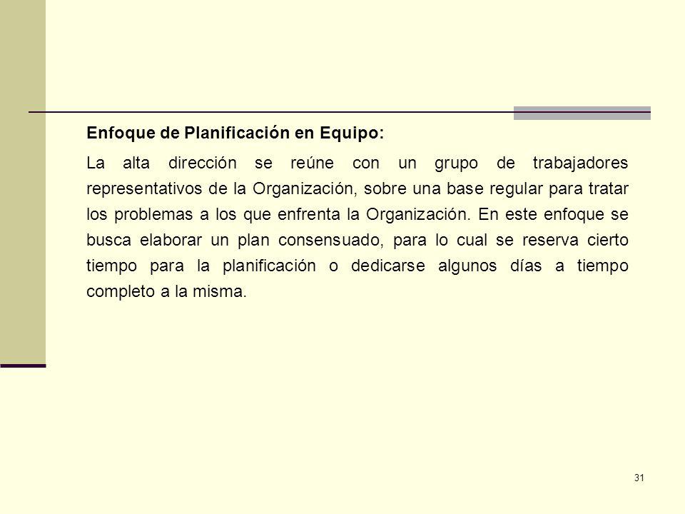 31 Enfoque de Planificación en Equipo: La alta dirección se reúne con un grupo de trabajadores representativos de la Organización, sobre una base regu