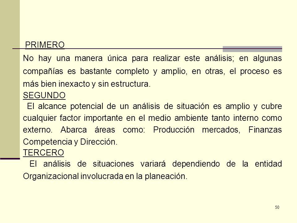 51 CUARTO El análisis de situación no puede ni debería ser completado solamente sobre una base formal durante el proceso de planeación.