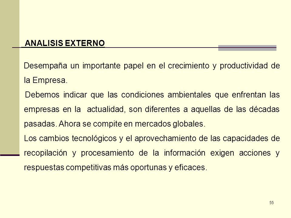 55 ANALISIS EXTERNO Desempaña un importante papel en el crecimiento y productividad de la Empresa. Debemos indicar que las condiciones ambientales que