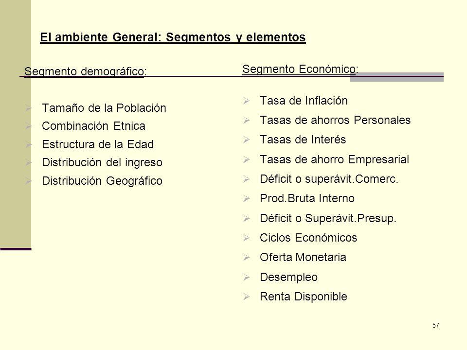 57 El ambiente General: Segmentos y elementos Segmento demográfico: Tamaño de la Población Combinación Etnica Estructura de la Edad Distribución del i