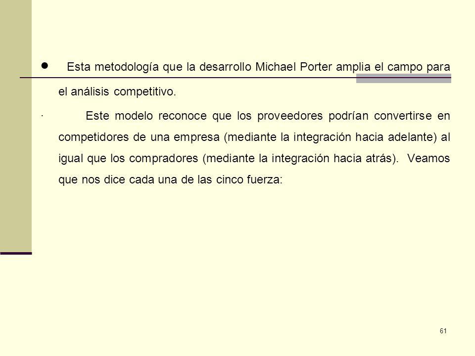 61 Esta metodología que la desarrollo Michael Porter amplia el campo para el análisis competitivo. · Este modelo reconoce que los proveedores podrían