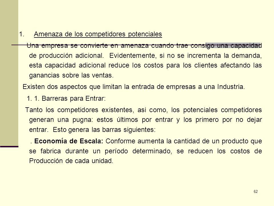 62 1. Amenaza de los competidores potenciales Una empresa se convierte en amenaza cuando trae consigo una capacidad de producción adicional. Evidentem