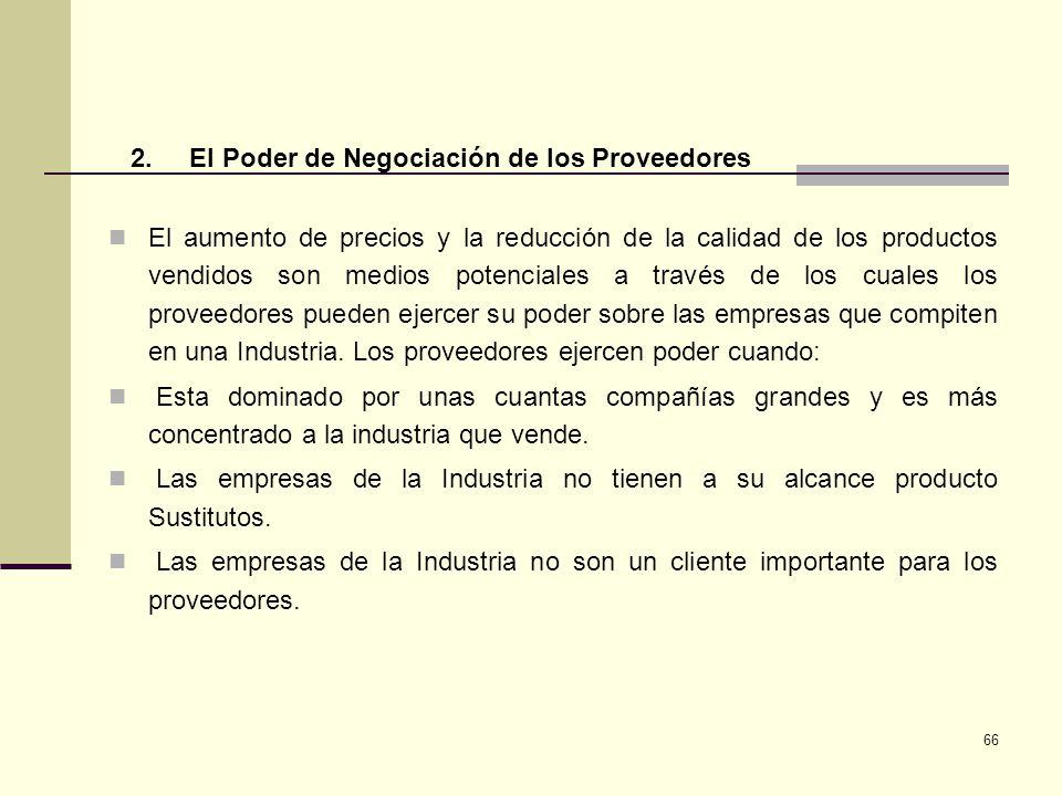 66 2. El Poder de Negociación de los Proveedores El aumento de precios y la reducción de la calidad de los productos vendidos son medios potenciales a