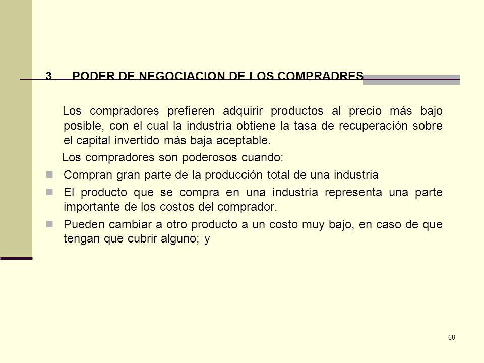 68 3. PODER DE NEGOCIACION DE LOS COMPRADRES Los compradores prefieren adquirir productos al precio más bajo posible, con el cual la industria obtiene
