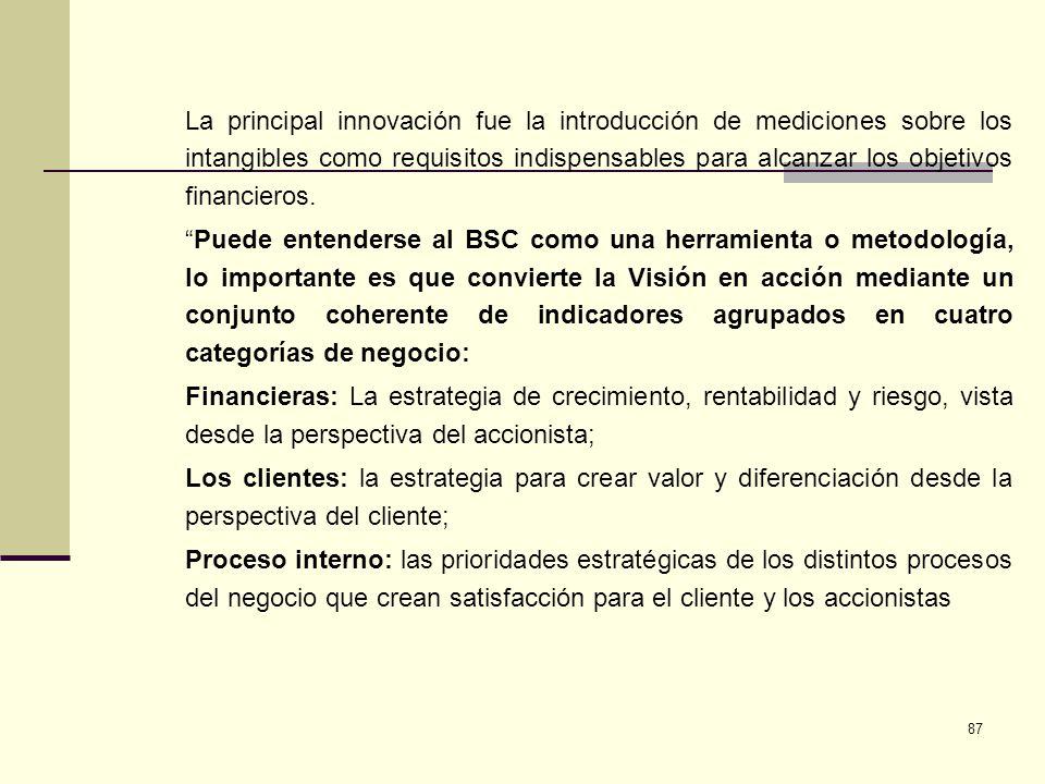 87 La principal innovación fue la introducción de mediciones sobre los intangibles como requisitos indispensables para alcanzar los objetivos financie
