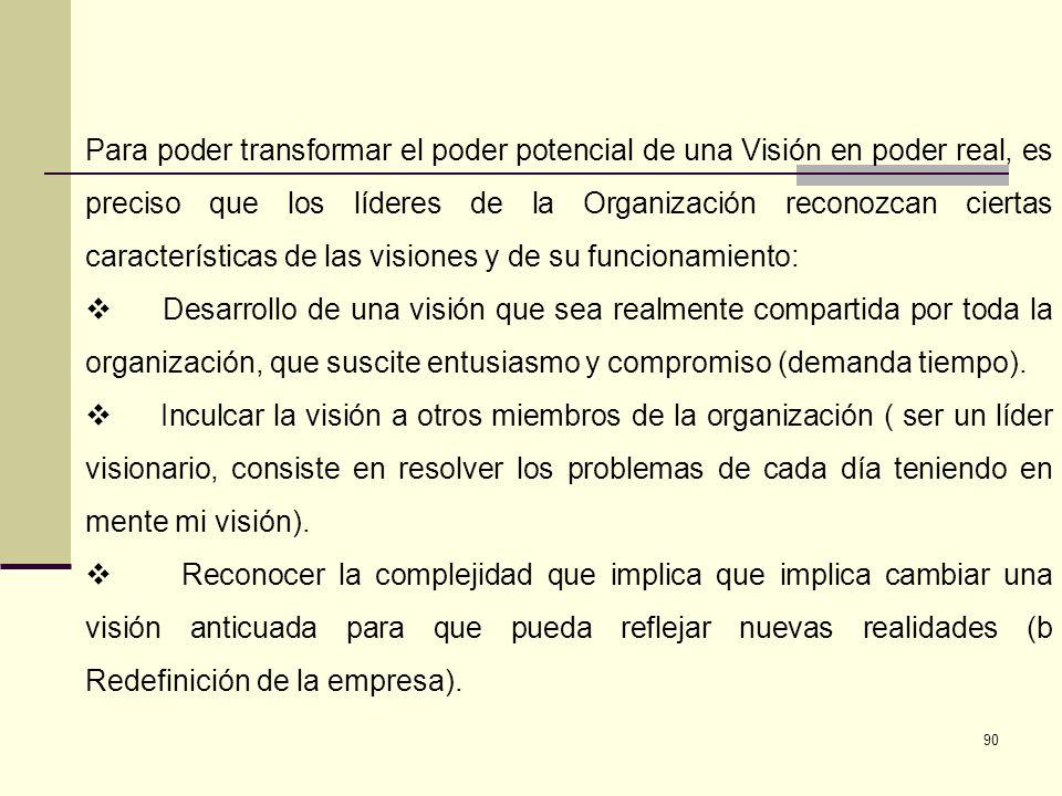 91 Conceptualización de la Visión Es la imagen mental de lo que la Institución quiere llegar a ser en un escenario futuro de largo plazo.