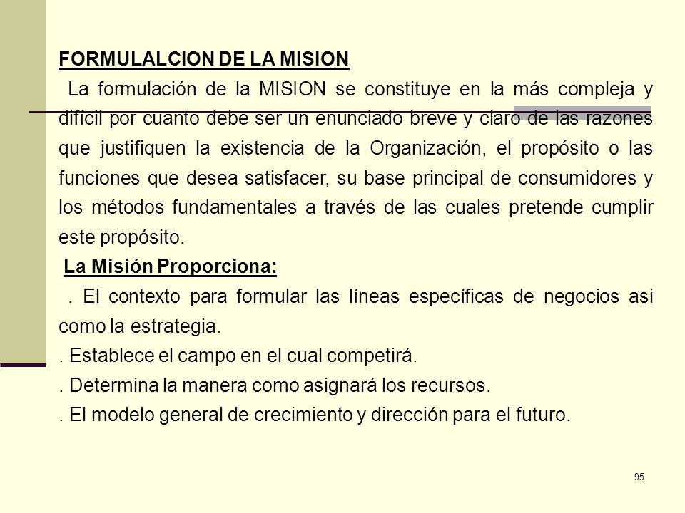 95 FORMULALCION DE LA MISION La formulación de la MISION se constituye en la más compleja y difícil por cuanto debe ser un enunciado breve y claro de