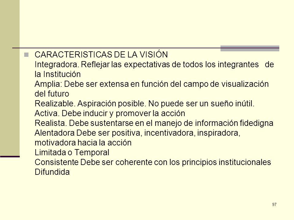 CARACTERISTICAS DE LA VISIÓN Integradora. Reflejar las expectativas de todos los integrantes de la Institución Amplia: Debe ser extensa en función del
