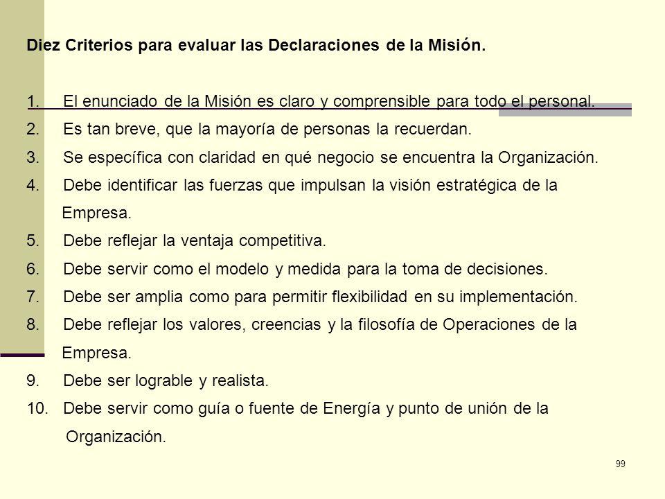 99 Diez Criterios para evaluar las Declaraciones de la Misión. 1. El enunciado de la Misión es claro y comprensible para todo el personal. 2. Es tan b