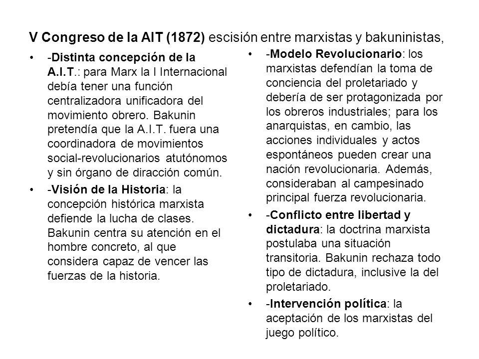 V Congreso de la AIT (1872) escisión entre marxistas y bakuninistas, -Distinta concepción de la A.I.T.: para Marx la I Internacional debía tener una f