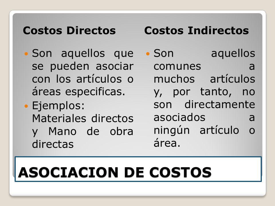ASOCIACION DE COSTOS Costos DirectosCostos Indirectos Son aquellos que se pueden asociar con los artículos o áreas especificas. Ejemplos: Materiales d